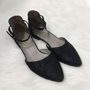 Paul Green Black Leather Ankle Strap Flats Shoes